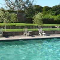 Our ozone pool still provides a sheltered haven surrounded by olive trees and green terraced lawns